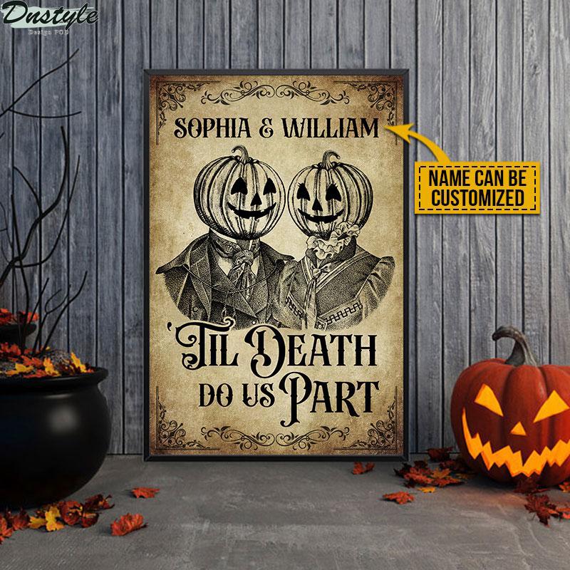 Skeleton Skull Pumpkin Couple til death do us part poster 1