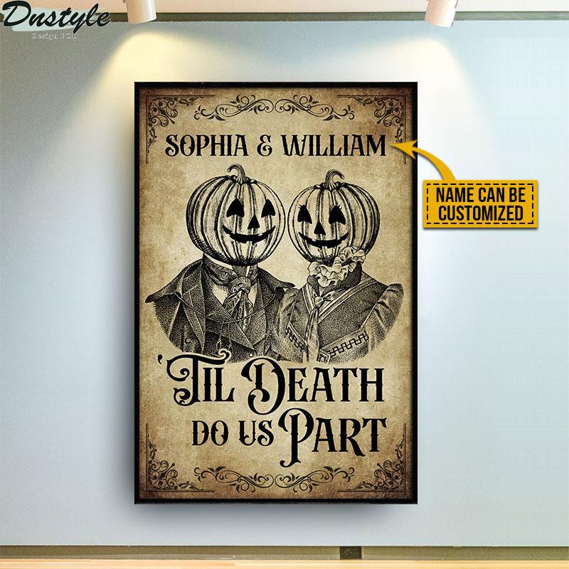 Skeleton Skull Pumpkin Couple til death do us part poster 2