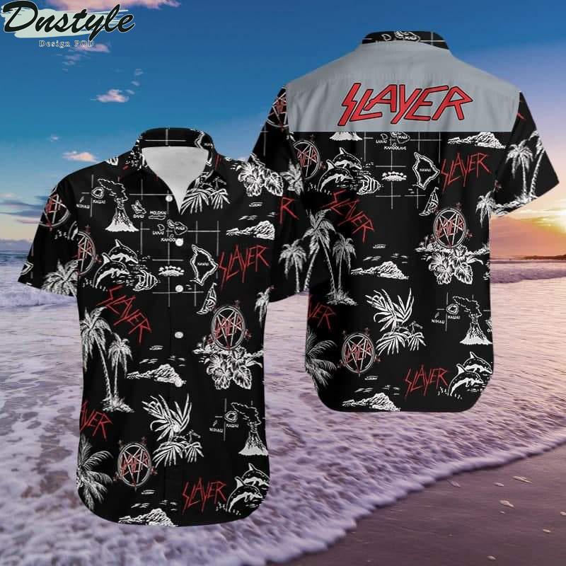 Slayer black and white hawaiian aloha shirt