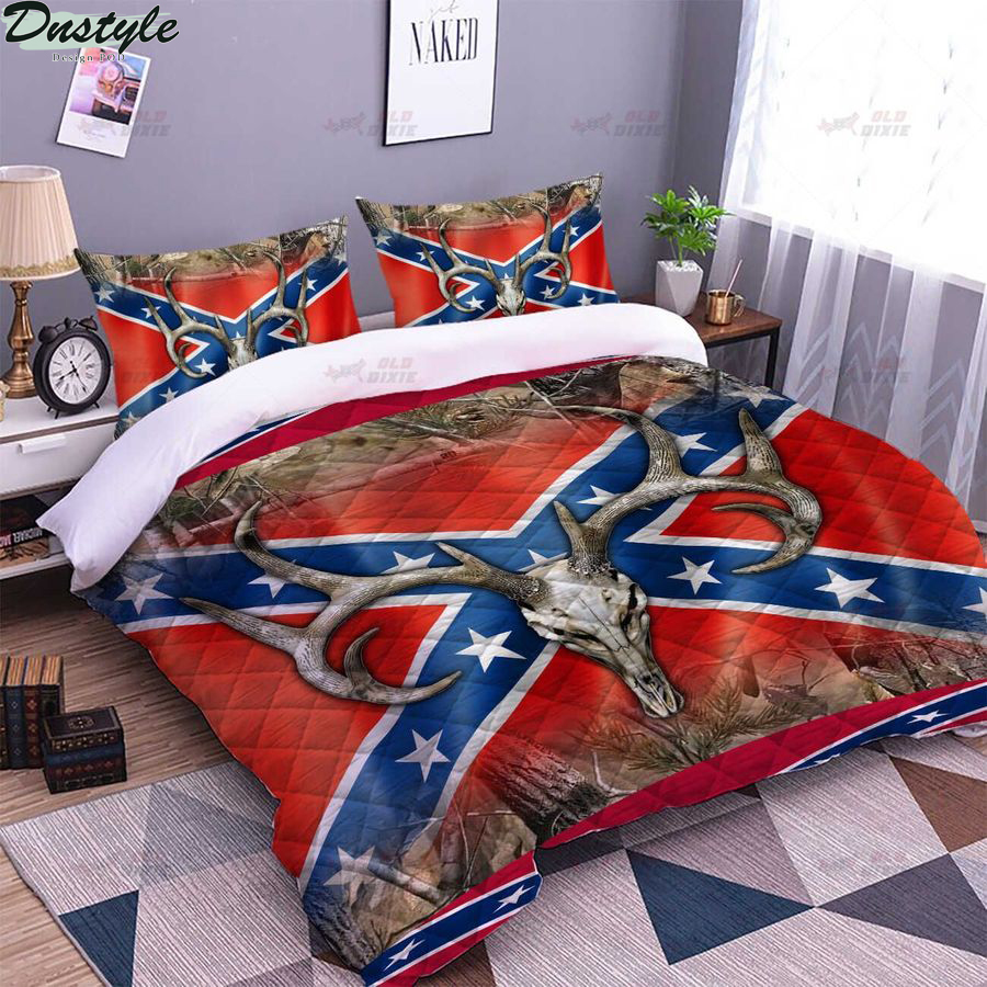 Southern confederate flag rebel deer blanket 2