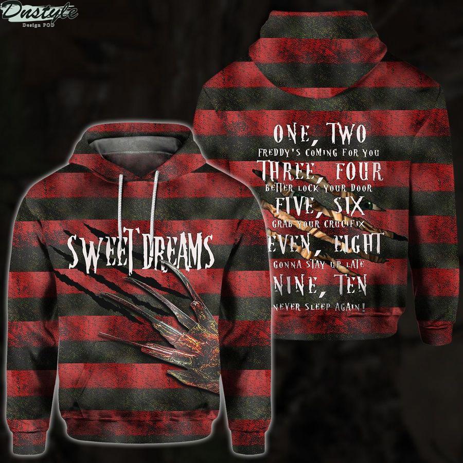 Sweet dreams freddy krueger 3d all over printed hoodie