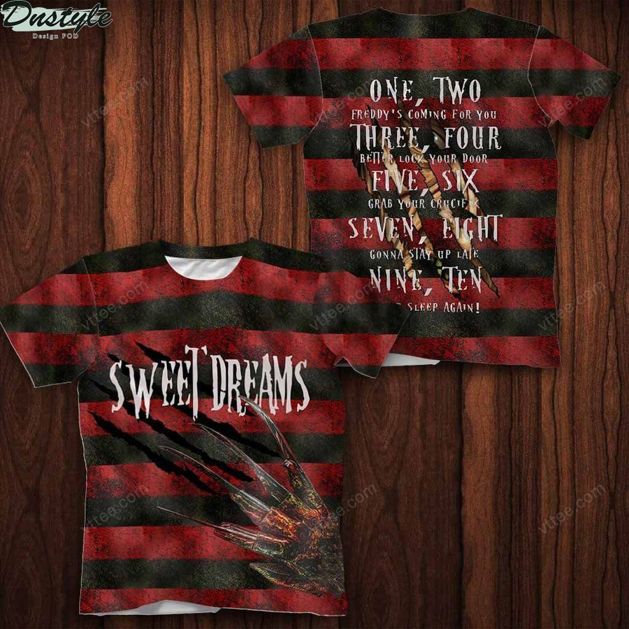 Sweet dreams freddy krueger 3d all over printed t-shirt