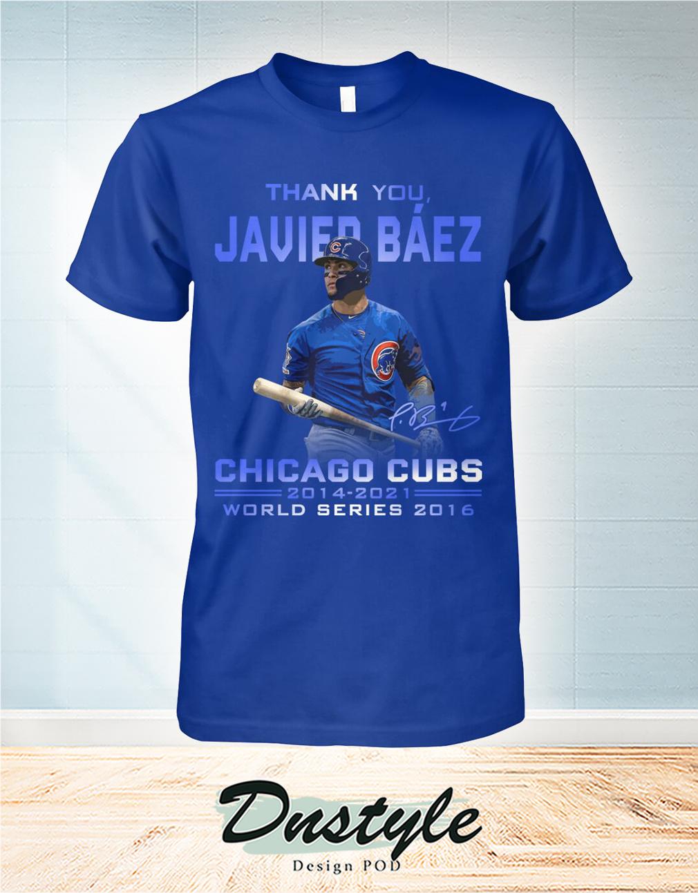 Thank you Javier Báez signature chicago cubs world series 2016 shirt