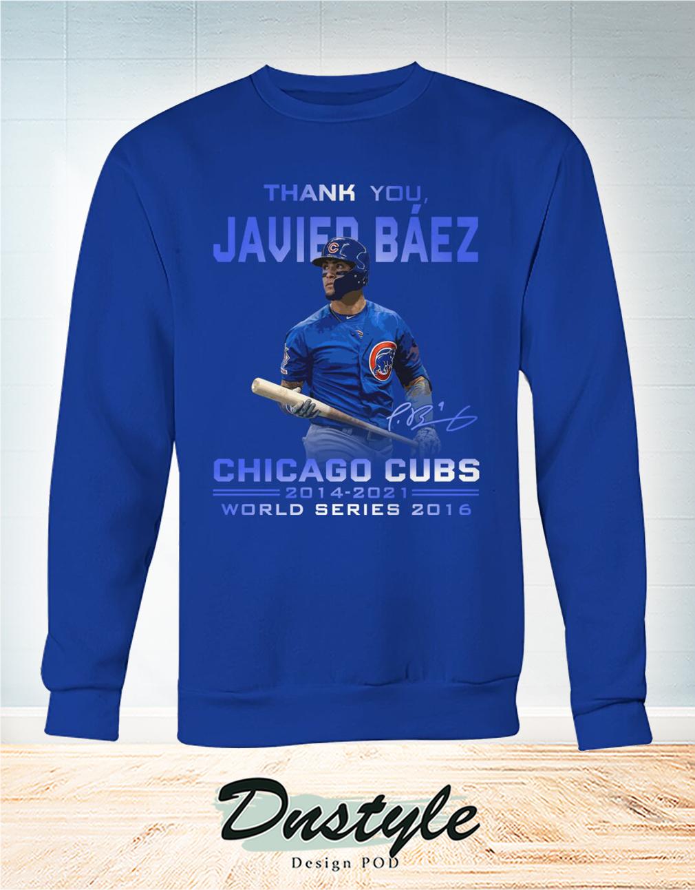 Thank you Javier Báez signature chicago cubs world series 2016 sweatshirt