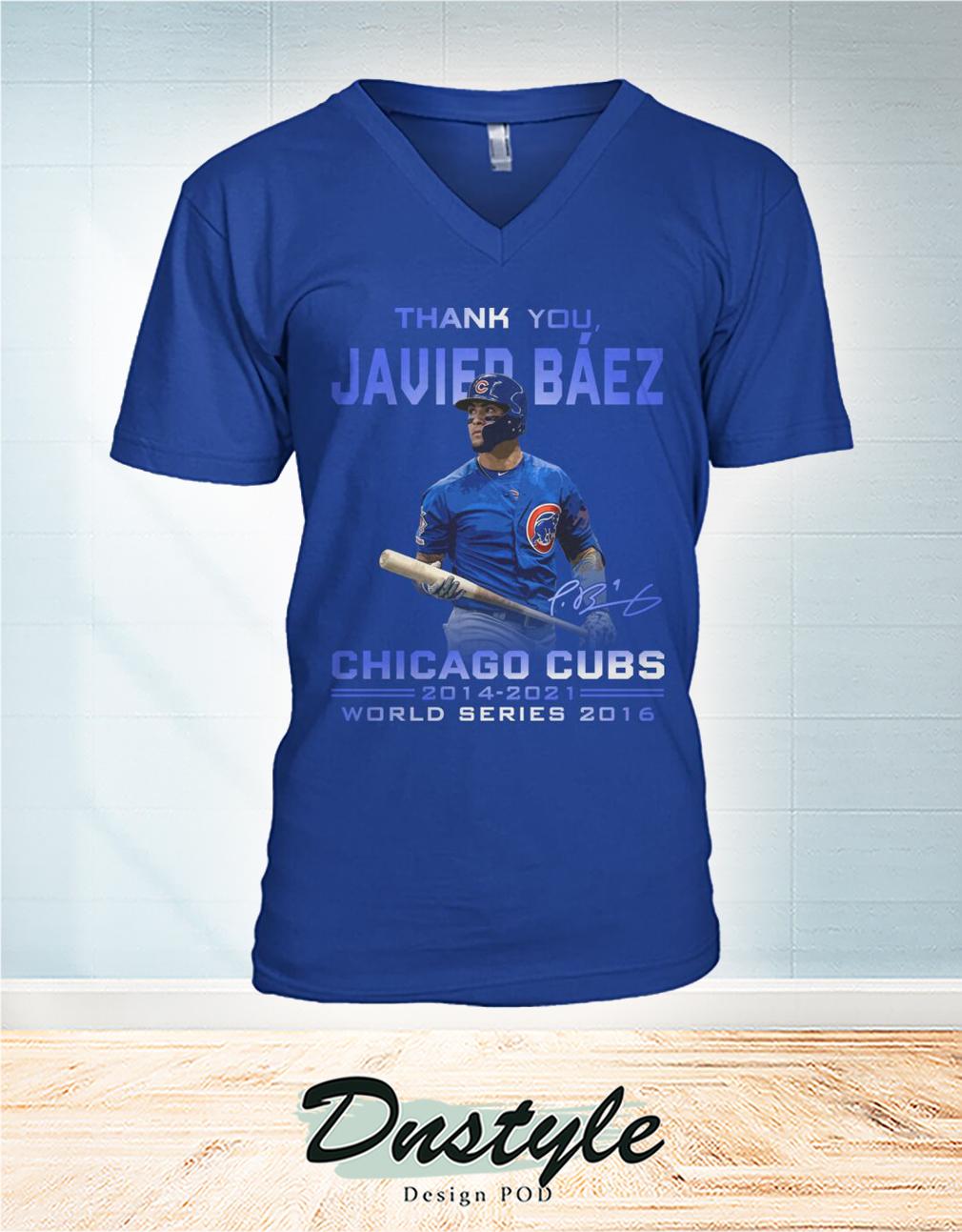 Thank you Javier Báez signature chicago cubs world series 2016 v-neck