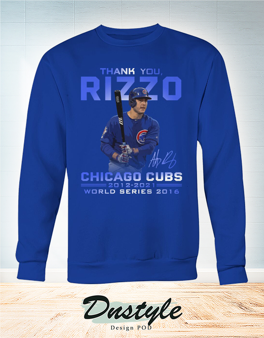 Thank you Rizzo signature chicago cubs world series 2016 sweatshirt