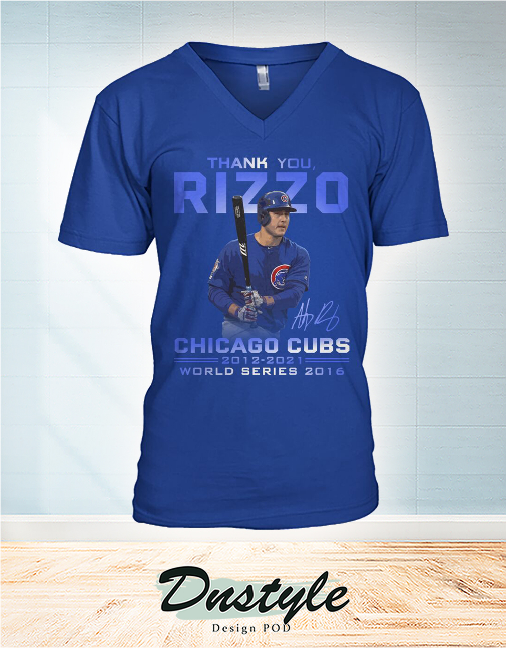 Thank you Rizzo signature chicago cubs world series 2016 v-neck