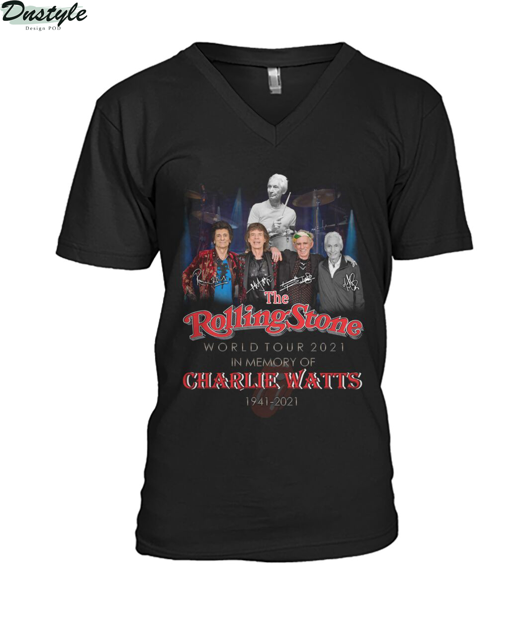 The rolling stone world tour 2021 in memory of Charlie Watts 1941-2021 v-neck