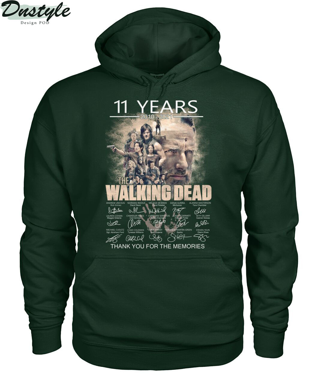 The walking dead 11 years 2010-2021 thank you for the memories hoodie
