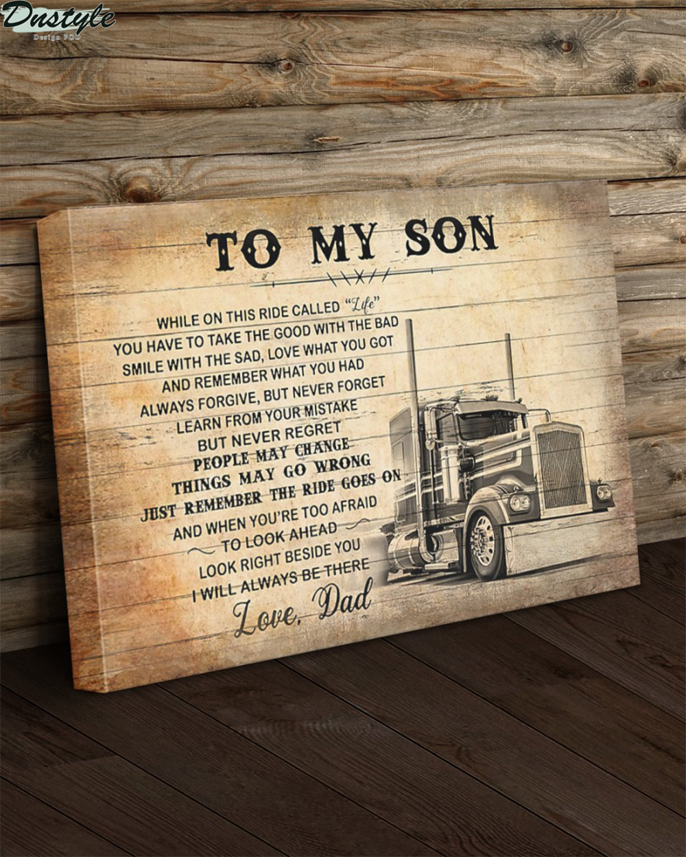 Truck driver to my son love dad canvas and poster