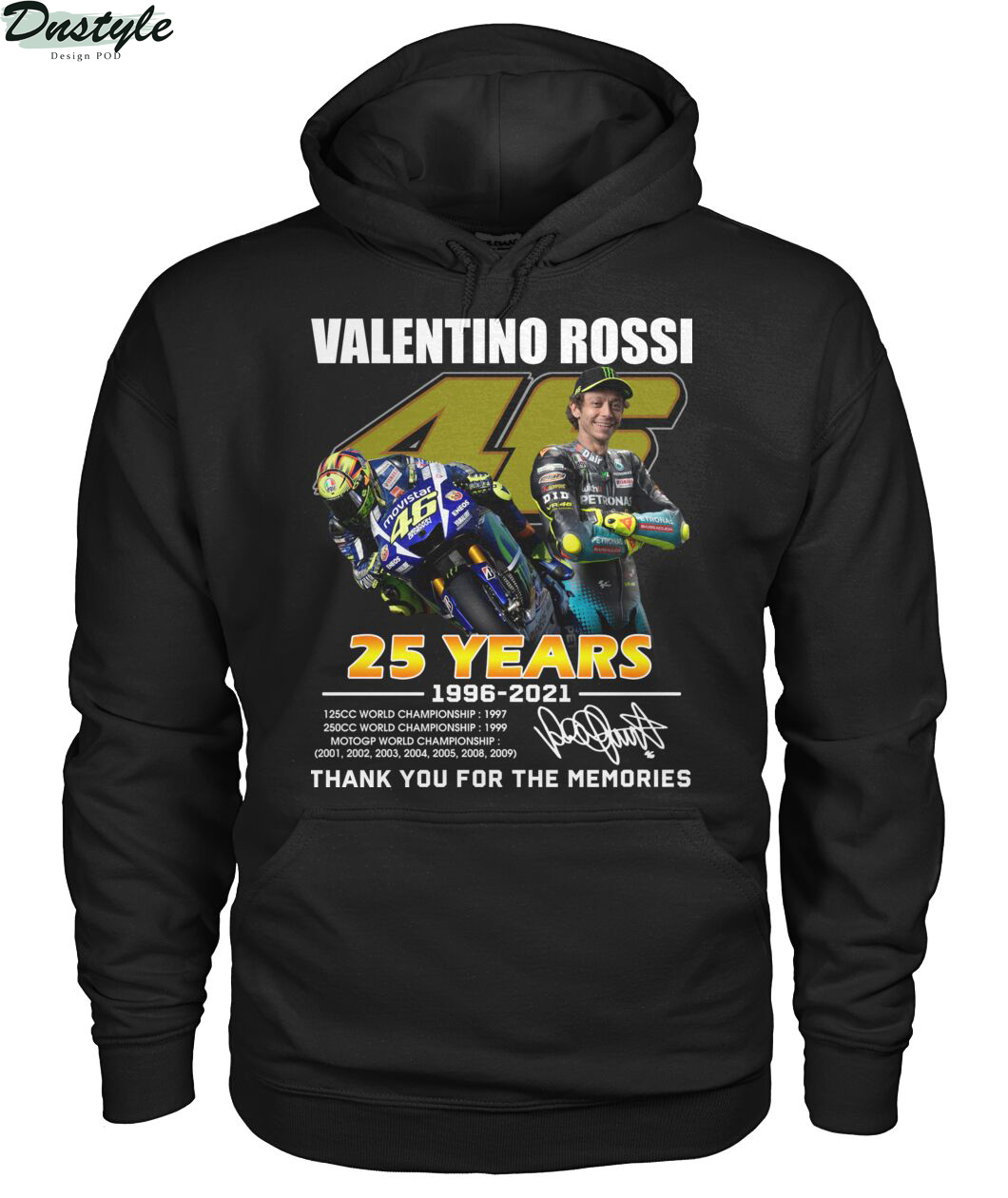 Valentino rossi 25 years thank you for the memories hoodie