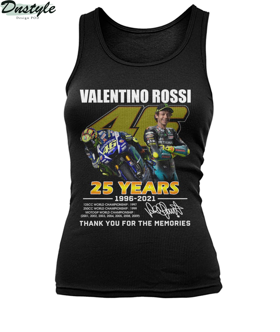 Valentino rossi 25 years thank you for the memories tank top