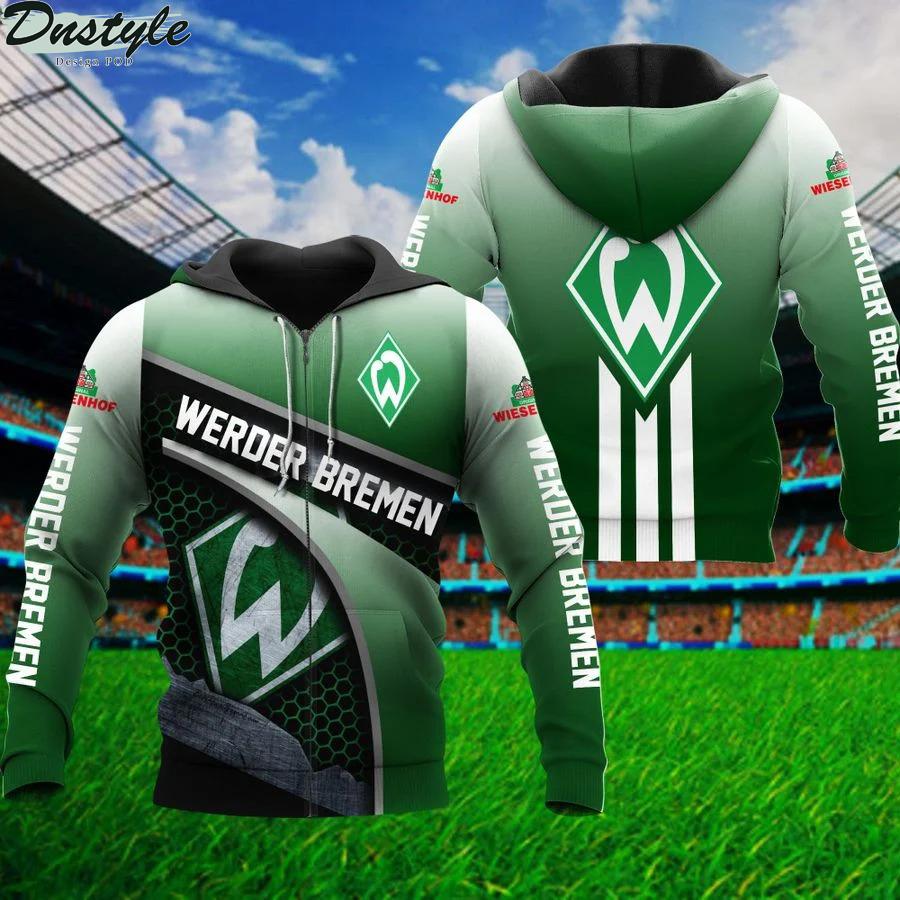 Werder bremen 3d all over printed zip hoodie