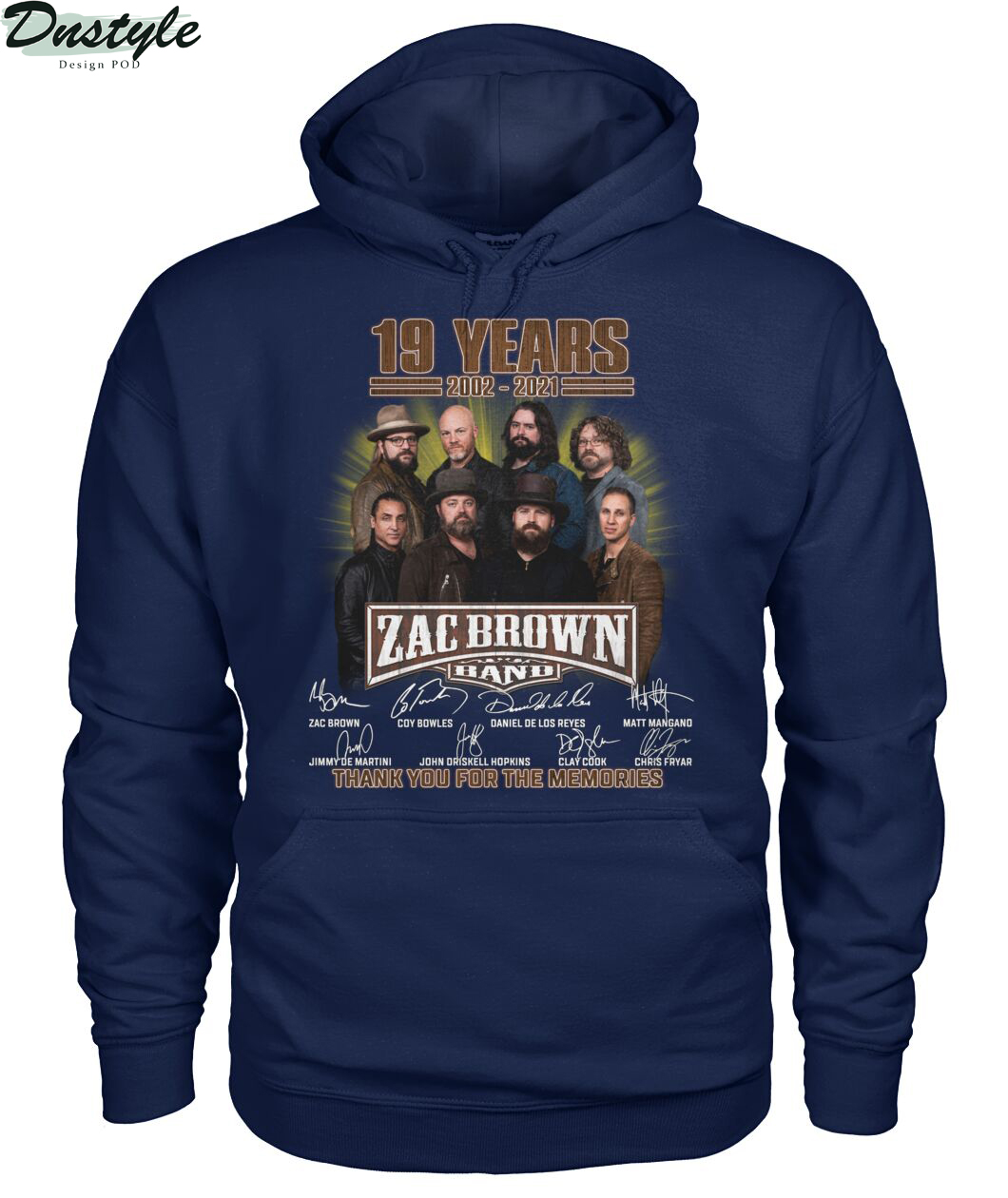 Zac Brown band 19 years 2002 2021 signature thank you for the memories hoodie