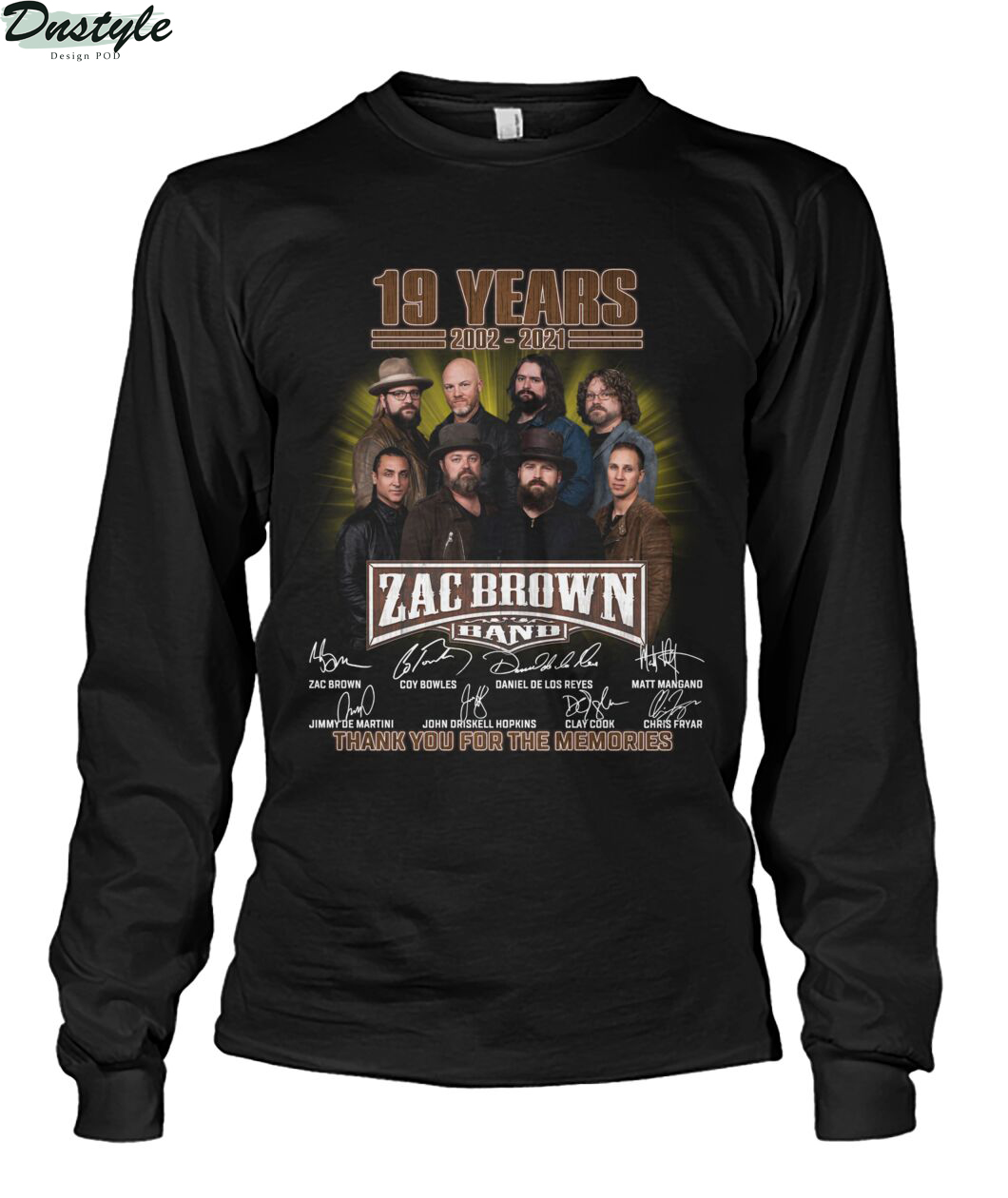 Zac Brown band 19 years 2002 2021 signature thank you for the memories long sleeve