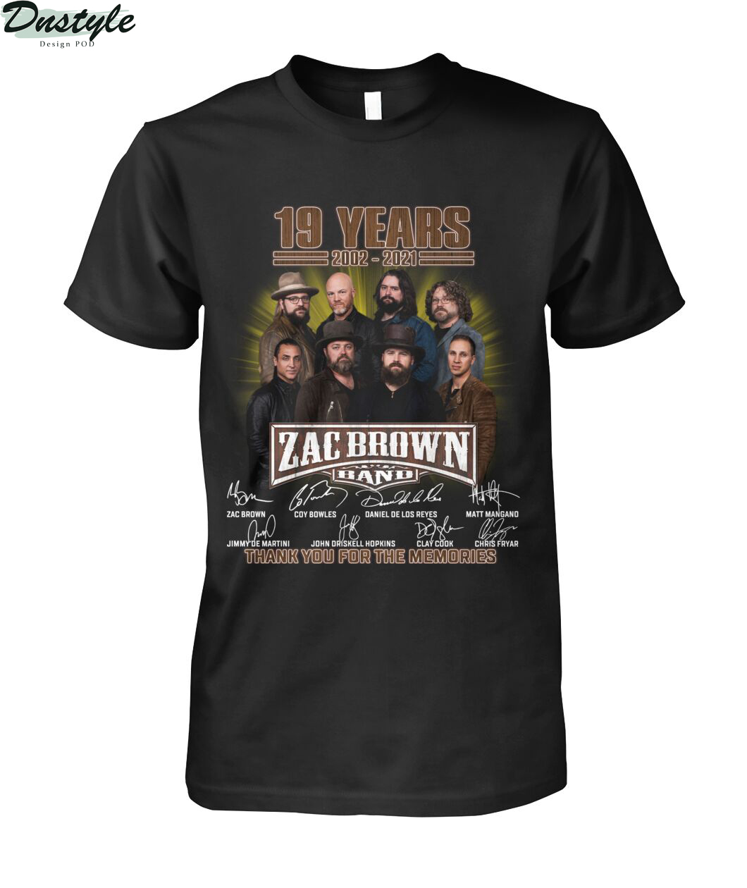 Zac Brown band 19 years 2002 2021 signature thank you for the memories shirt