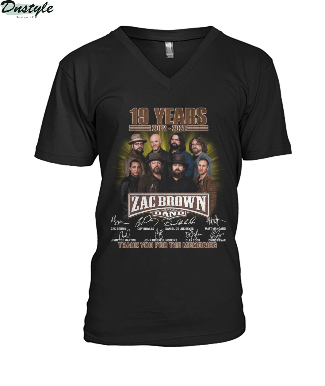 Zac Brown band 19 years 2002 2021 signature thank you for the memories v-neck