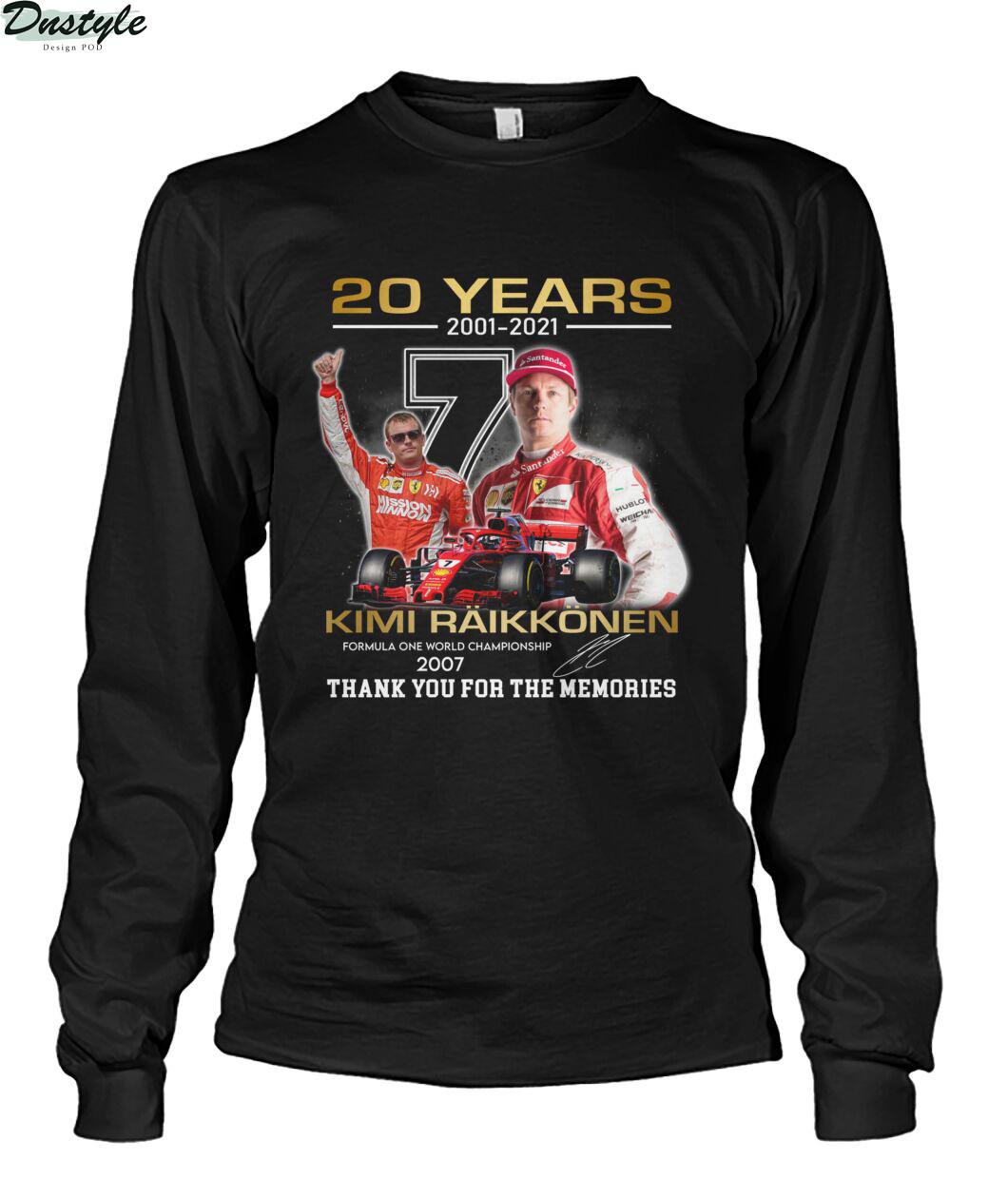20 years 2001 2021 Kimi Räikkönen f1 world championship 2007 long sleeve