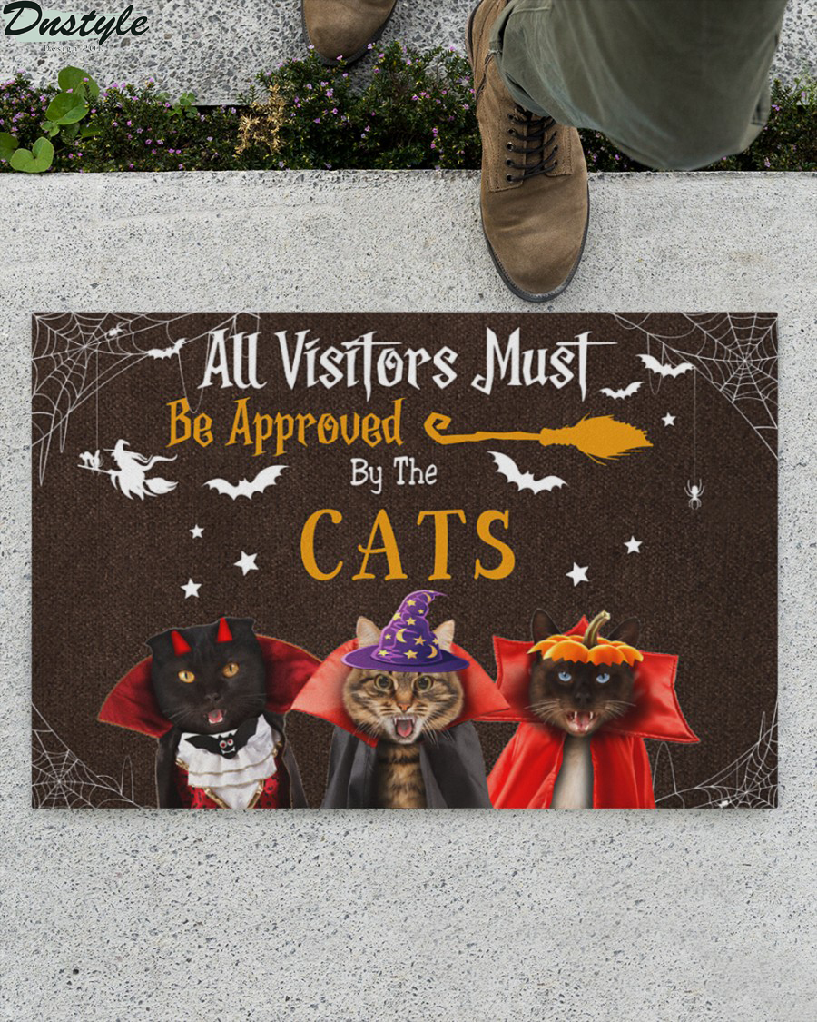 All Visitors Must Be Approved By Cats Halloween Doormat 1