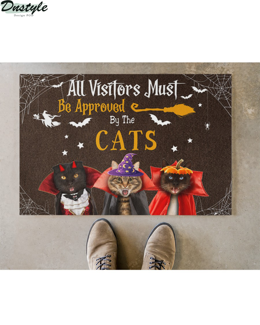 All Visitors Must Be Approved By Cats Halloween Doormat 2