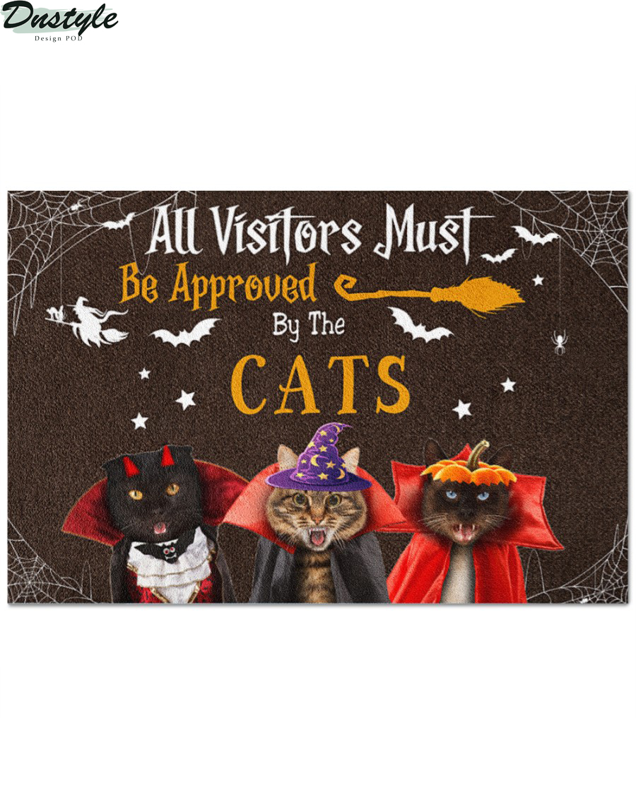 All Visitors Must Be Approved By Cats Halloween Doormat
