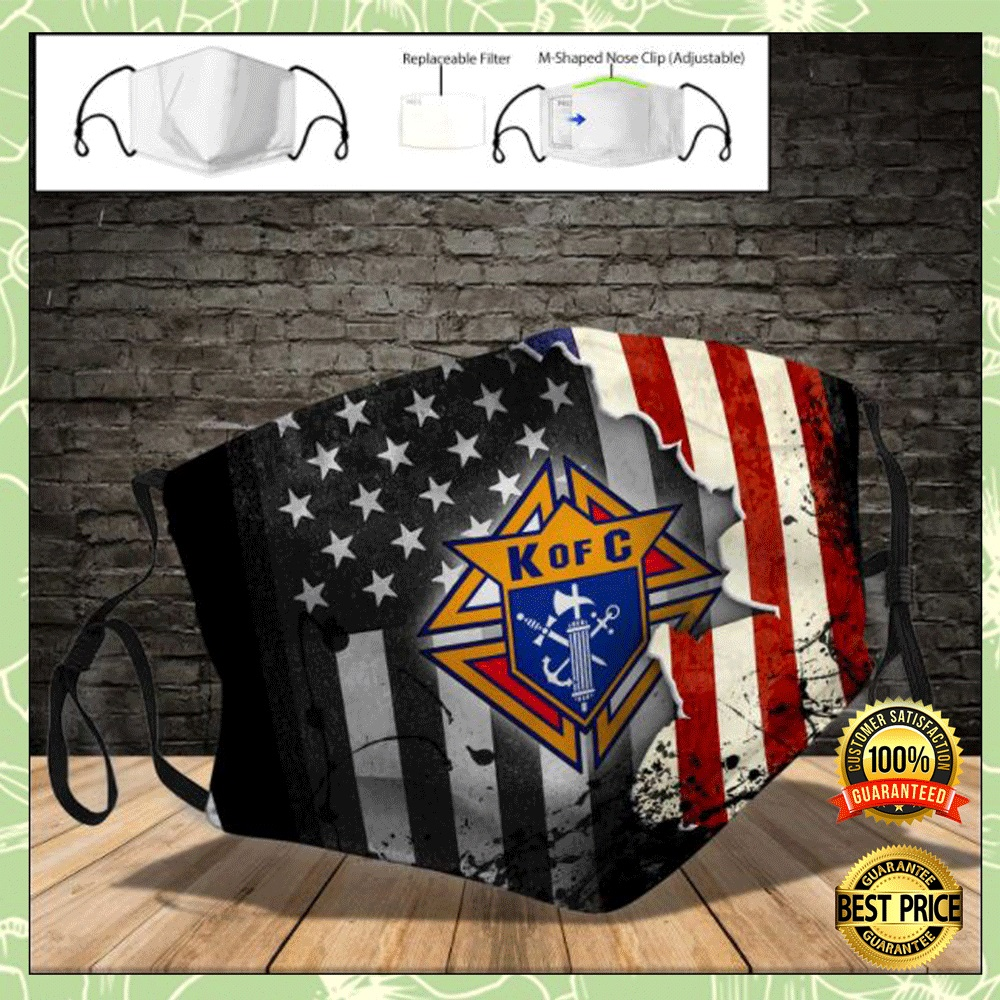 American flag Knights of Columbus logo face mask