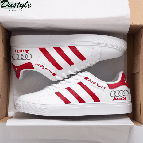 Audi Sports red and white stan smith low top shoes
