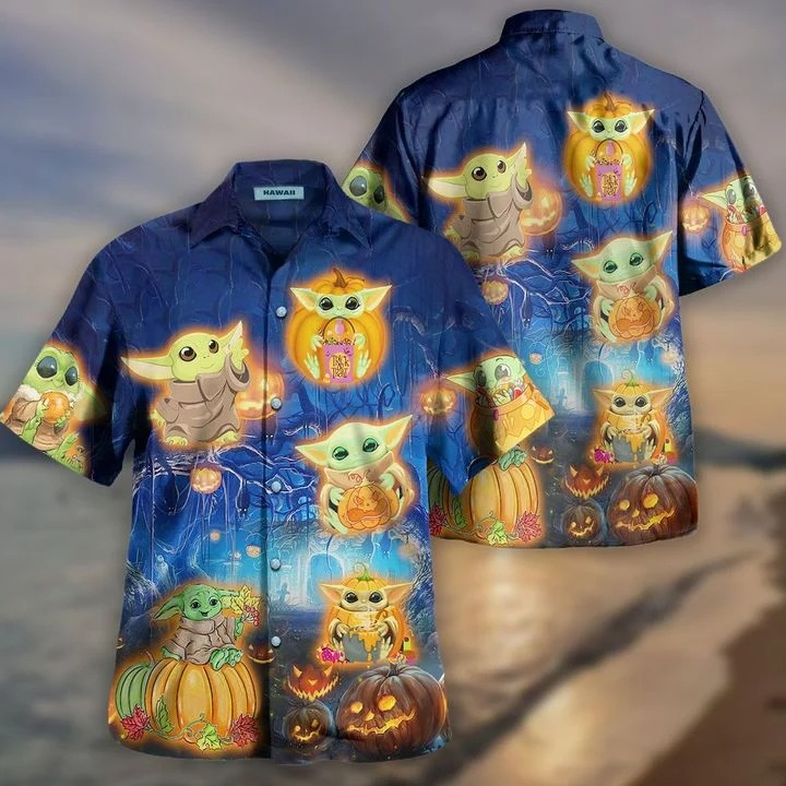 Baby yoda halloween hawaiian shirt 2