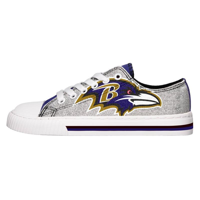 Baltimore ravens NFL glitter low top canvas shoes 1