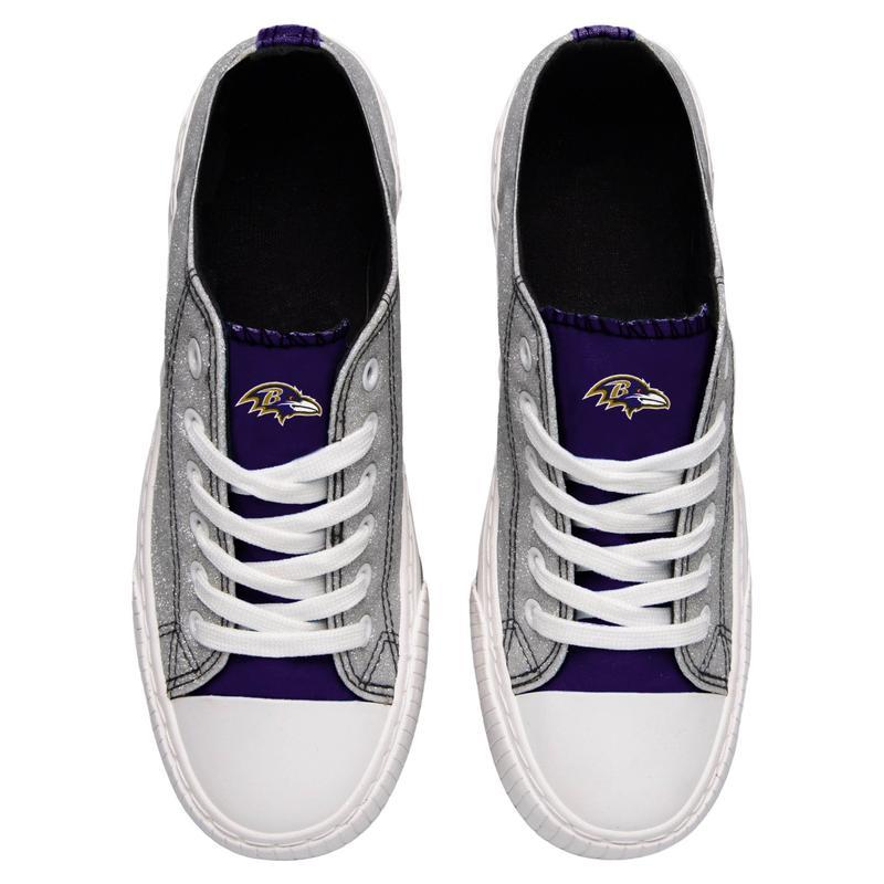 Baltimore ravens NFL glitter low top canvas shoes 2