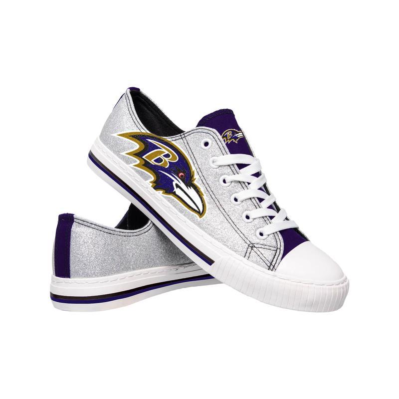 Baltimore ravens NFL glitter low top canvas shoes