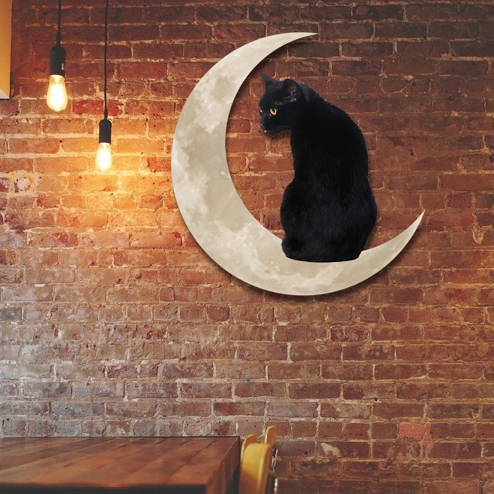 Black Cat Moon Hanging Metal Sign 1