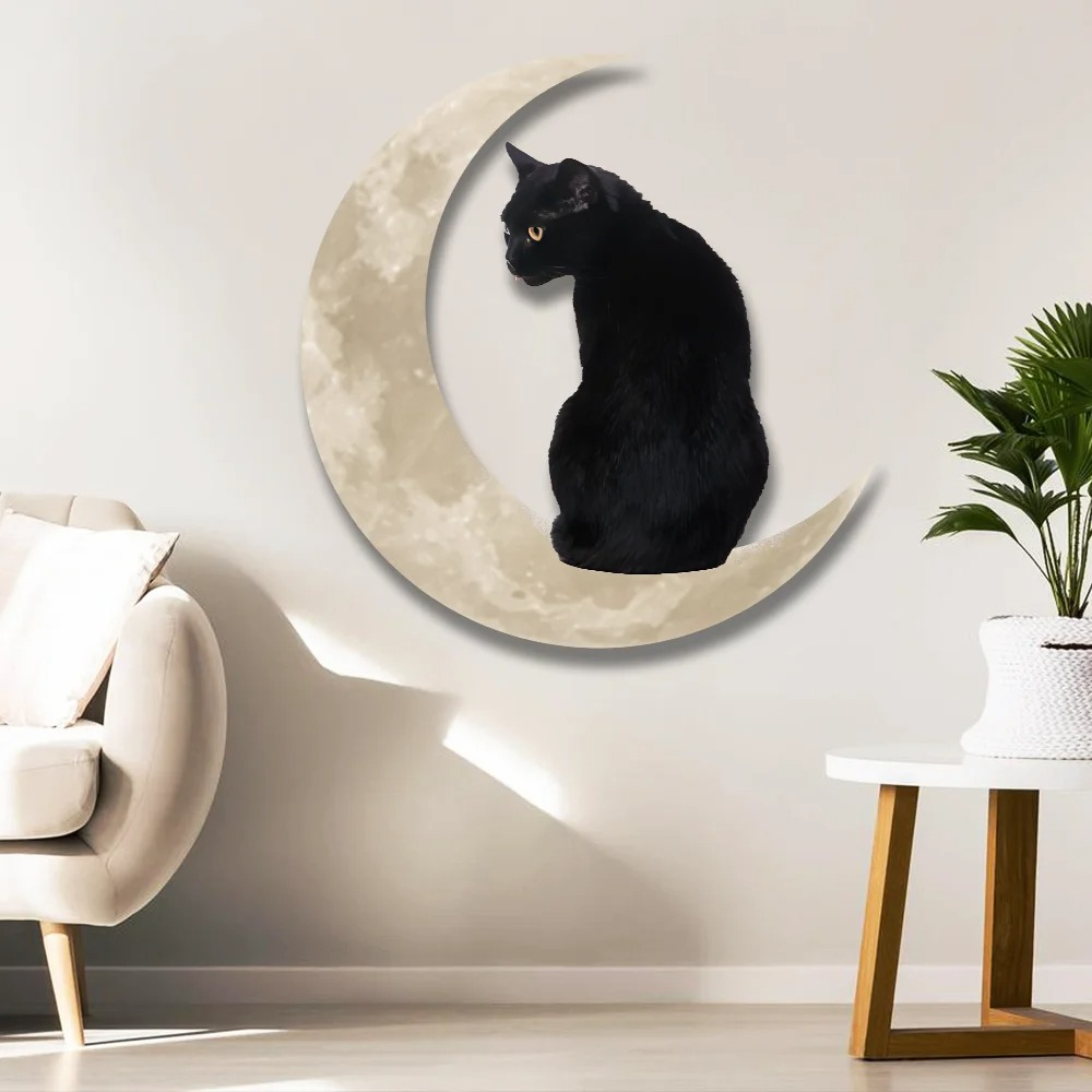 Black Cat Moon Hanging Metal Sign 2