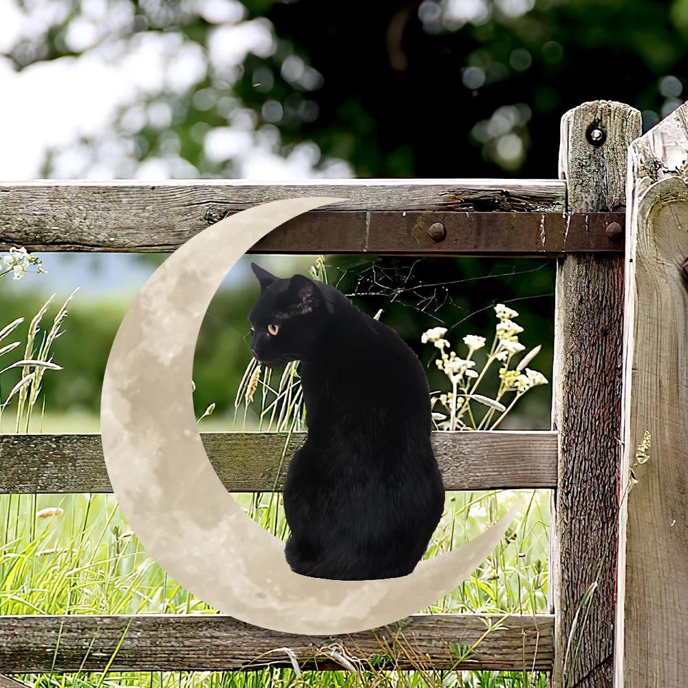 Black Cat Moon Hanging Metal Sign 3