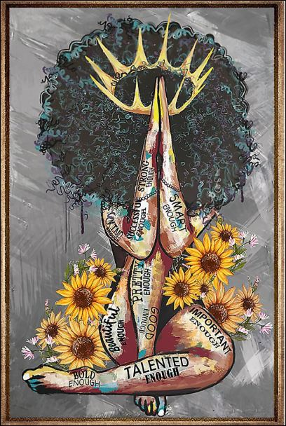 Black Queen with sunflowers poster