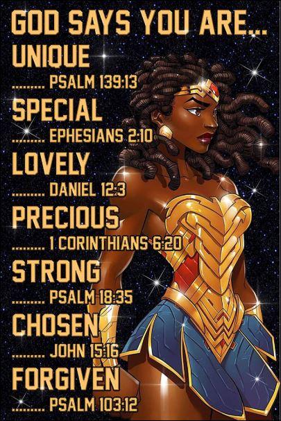 Black Wonder Woman God says you are unique poster