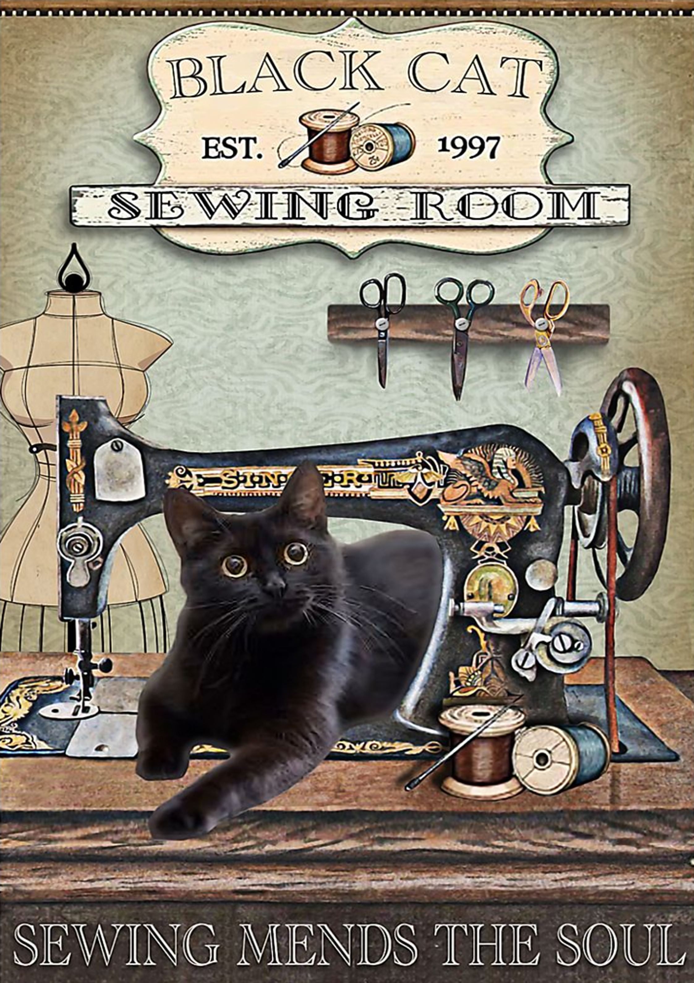 Black cat sewing room sewing mend the soul poster