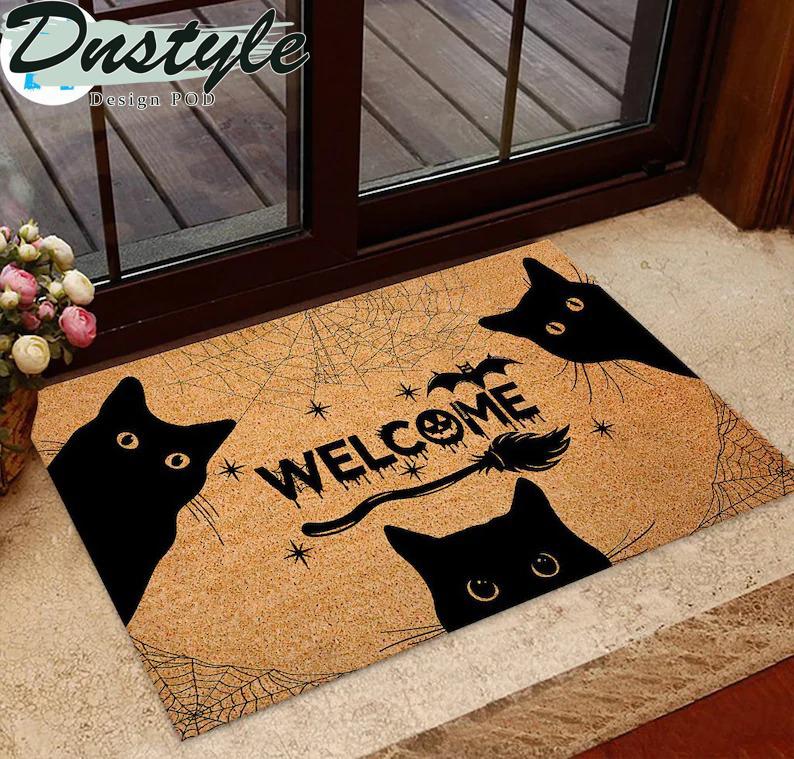 Black cat welcome doormat