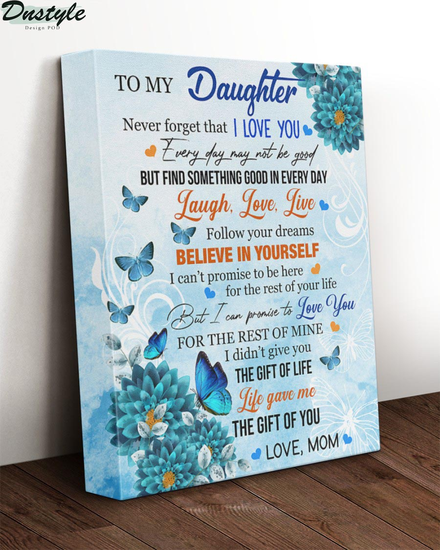 Blue carnations and monarch butterfly to my daughter canvas