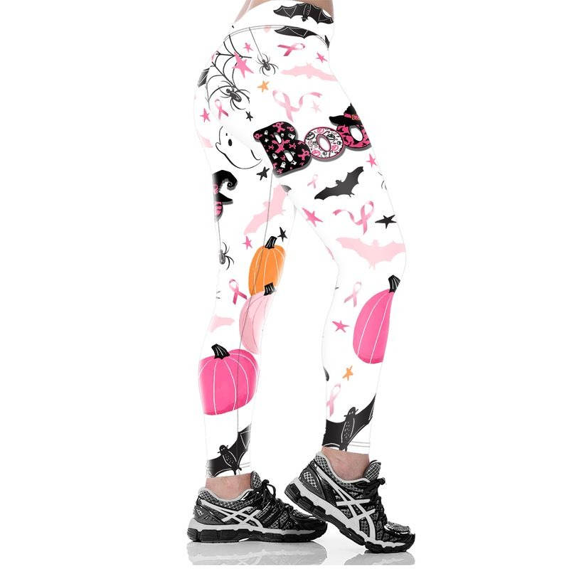 Boo halloween breast cancer awareness all over printed legging