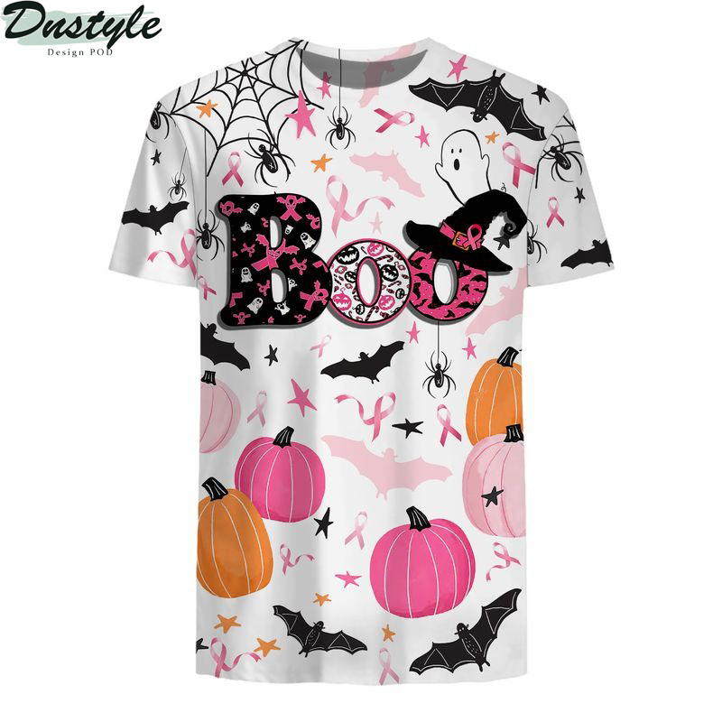 Boo halloween breast cancer awareness all over printed shirt