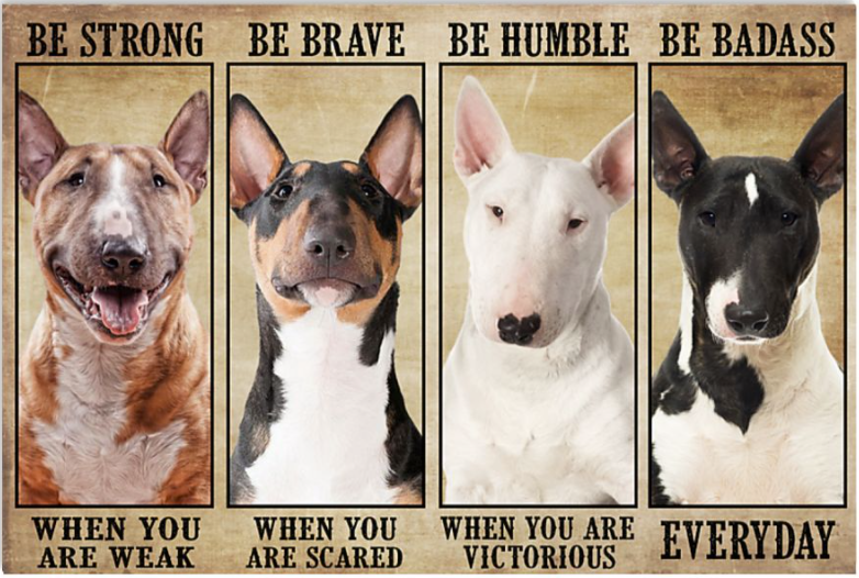 Bull Terrier be strong when you are weak be brave when you are scared poster