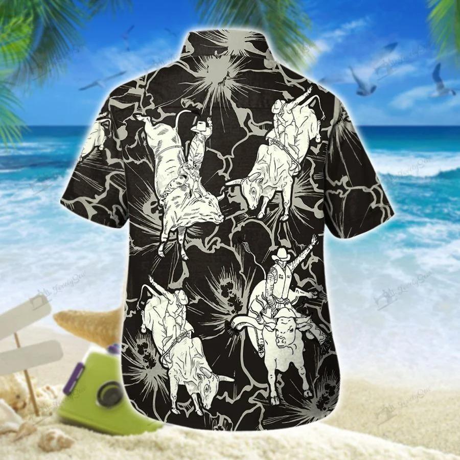 Bull riding hibiscus hawaiian shirt 1