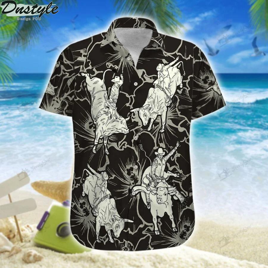 Bull riding hibiscus hawaiian shirt