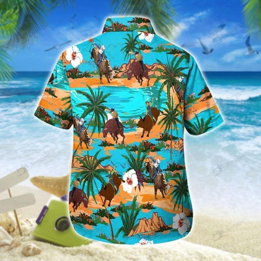 Bull riding on tropical island hawaiian shirt 1