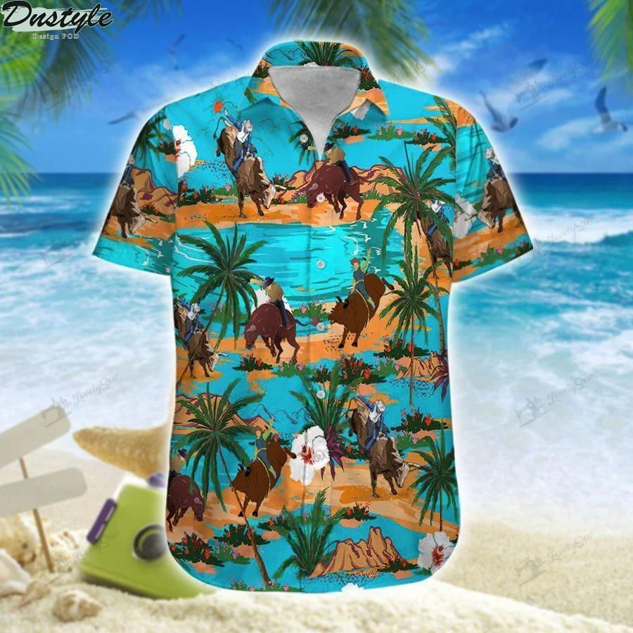 Bull riding on tropical island hawaiian shirt