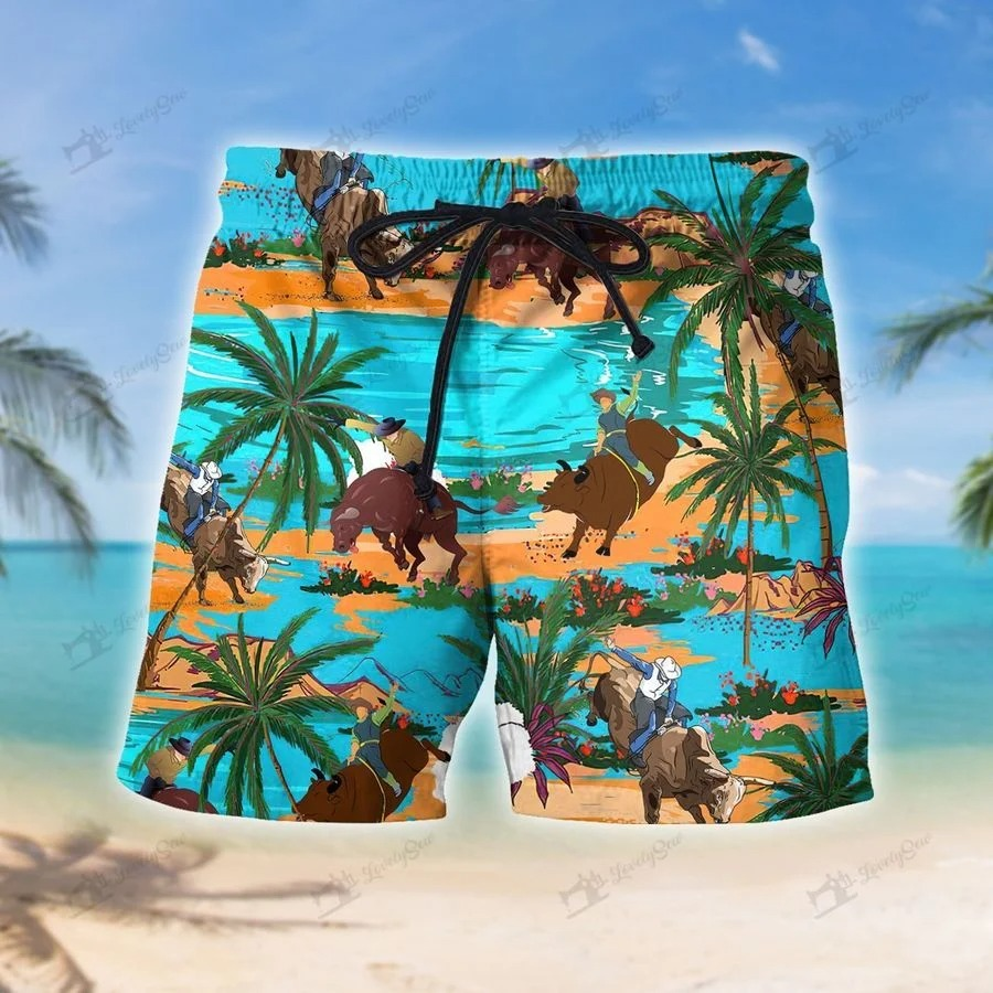 Bull riding on tropical island hawaiian short