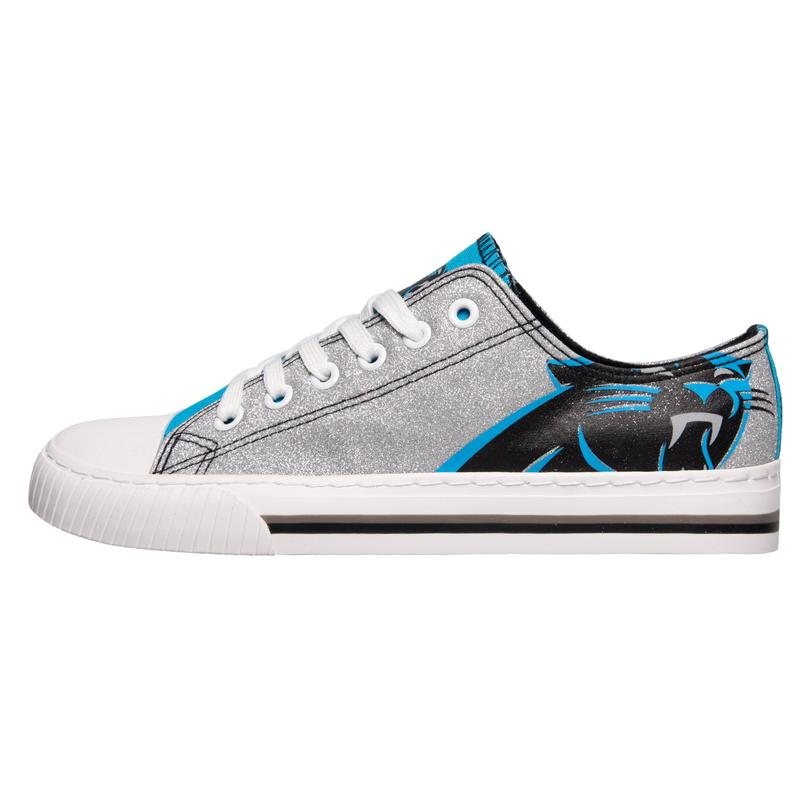 Carolina panthers NFL glitter low top canvas shoes 1