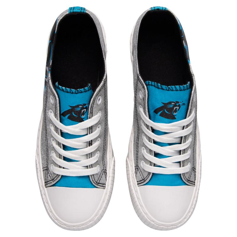 Carolina panthers NFL glitter low top canvas shoes 2