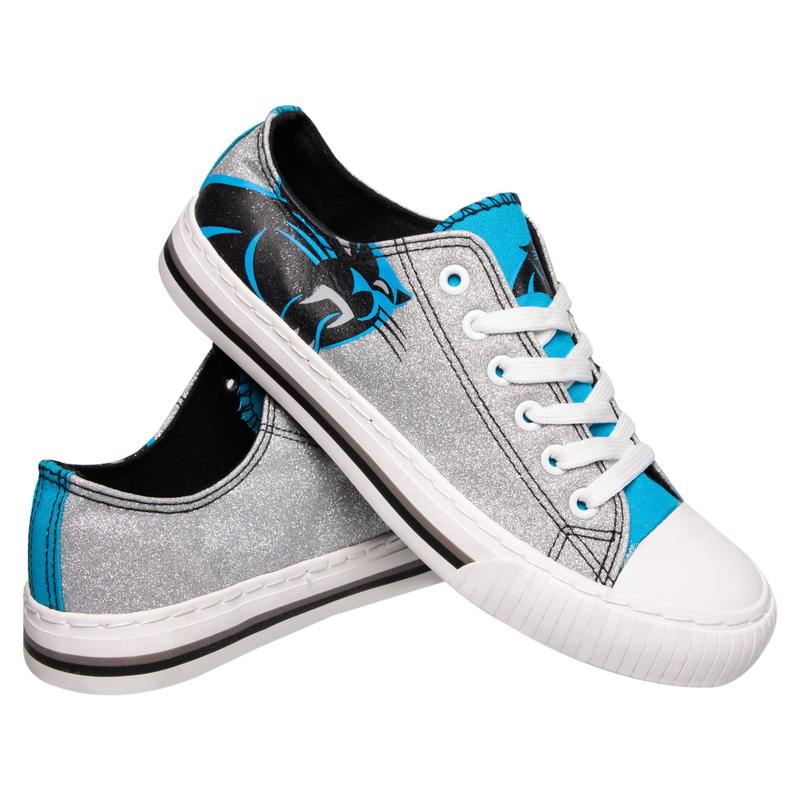 Carolina panthers NFL glitter low top canvas shoes